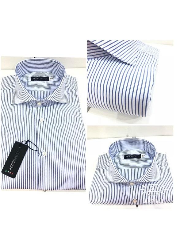 nuovo prodotto 60b9c 798a0 Camicia Sartoriale Uomo Cotone Rigata Blu